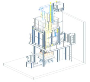 3D design lifting platformkiln with integrated post-combustion