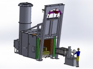 3D design of an integrated post-combustion debinding kiln